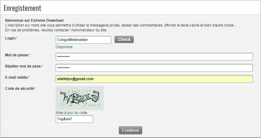Compléter le formulaire d'inscription sur Extreme Download